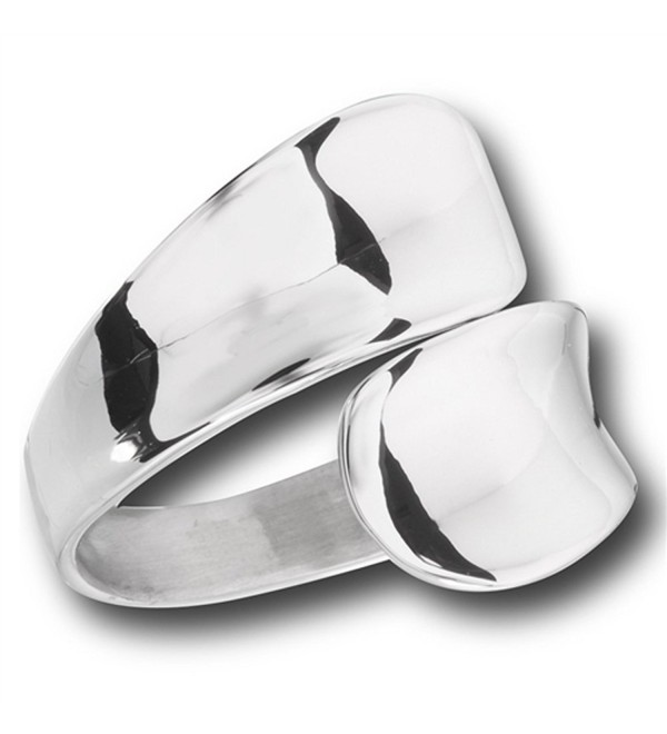 Modern Double Spoon Curved Concave Wrap Ring New Stainless Steel Band Sizes 6-10 - CX182SU2Q45