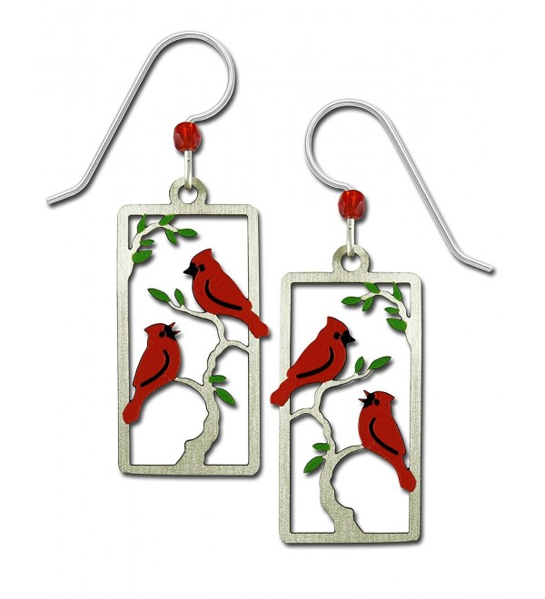 Sienna Sky Red Cardinals in Tree Hand Painted Bird Earrings with Gift Box Made in USA - CH182LK02K9