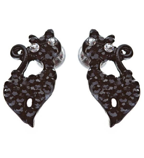 Sparkle Cute Crystal Rhinestone Animal Cat Fashion Stud Earrings Hemitate Black - CN11IH4D5HX