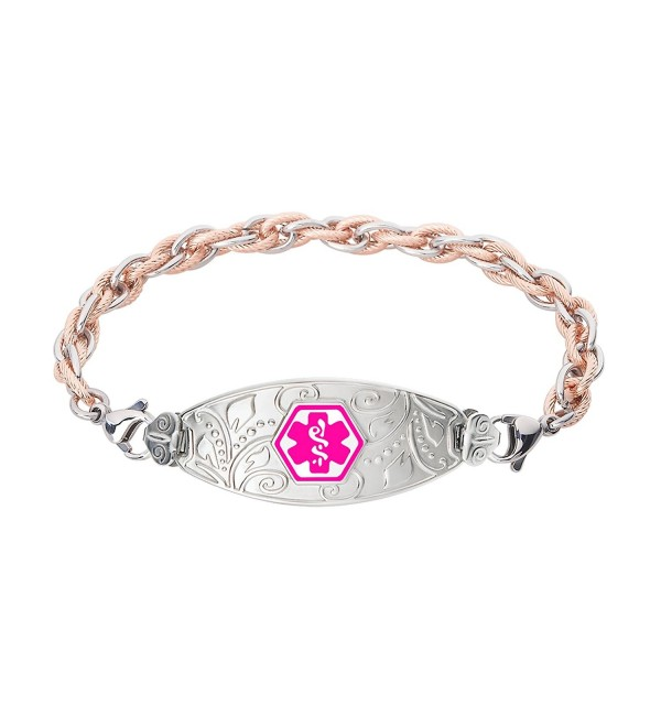 Divoti Custom Engraved Lovely Filigree Medical Alert Bracelet -Inter-Mesh Rose Gold/Silver Stainless -Violet - CK12O74CJWK