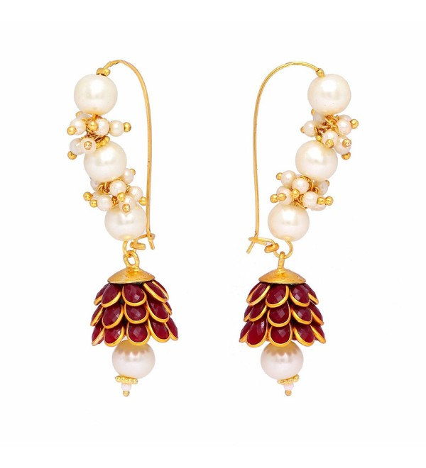 Jaipur Mart Indian Bollywood Handmade Maroon Pearl Cluster Pacchi Earrings - CZ17YKR3752