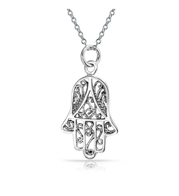 Hand of Fatima Filigree Hamsa Pendant Sterling Silver Necklace 18 Inches - CY1152PYKHJ