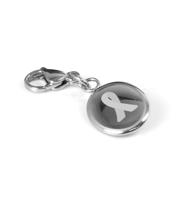 MyIDDr Custom Engraved Gray Diabetes Awareness Charm - 316L Steel - C8125LNPADN