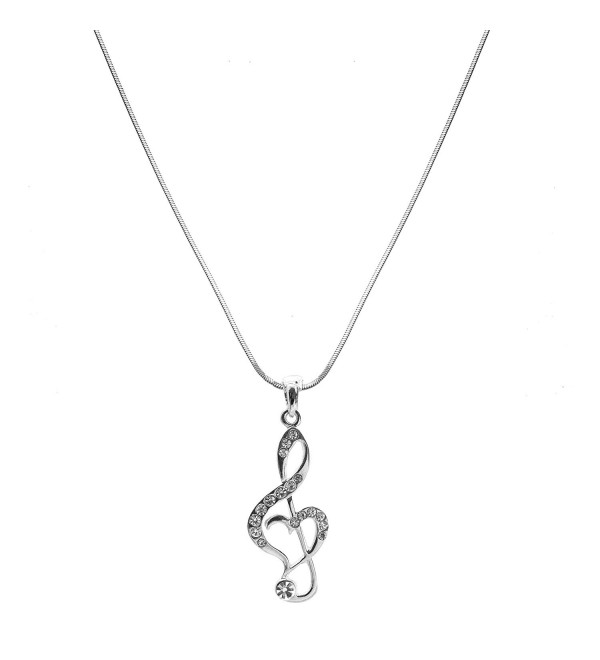 chelseachicNYC Crystal Treble Clef Music Note Necklace - CE129G32C13