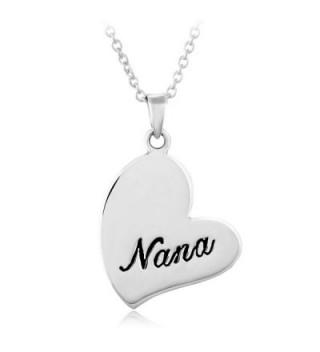 "925 Sterling Silver ""Nana"" Heart Grandmother Grandma Pendant Necklace- 18 inches - CF116U4JPF3"