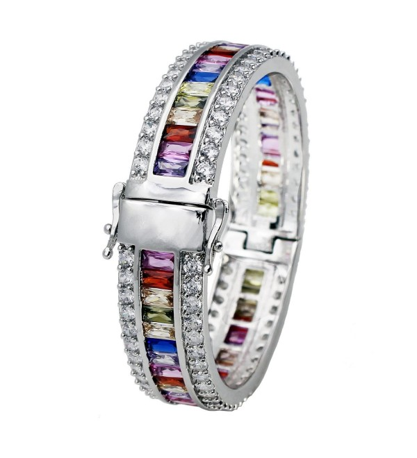 Morganite Topaz Garnet Amethyst Ruby Aquamarine Plated Silver Bracelet 8 Inch - CB12J9DZTD3