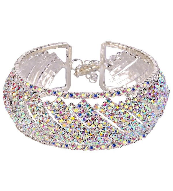 EleQueen Silver tone Austian Bracelet Iridescent - C412JFYEQLH