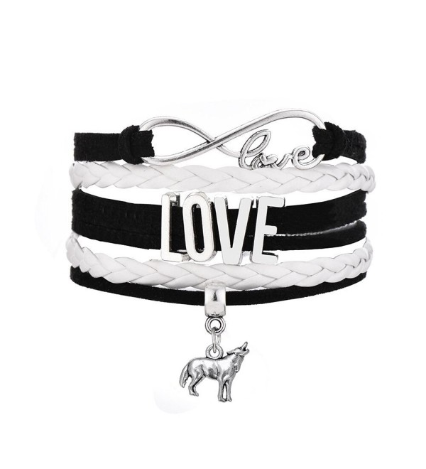 Hand Woven Multilayer Leather Rope Bracelet Infinity Love Wolf Charm Handmade Jewelry Christmas Gifts - White - CU12O1HJUTB