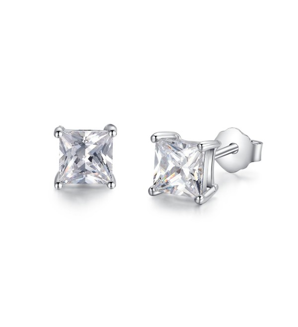 Sterling Silver Simulated Diamond Princess Cut CZ Stud Earrings 3mm (ESS03SVR) - CI11QS805CX