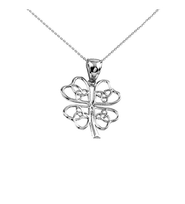 925 Sterling Silver Open Design Trinity Knot Lucky Four-Leaf Clover Pendant Necklace - CY12EM12P1V
