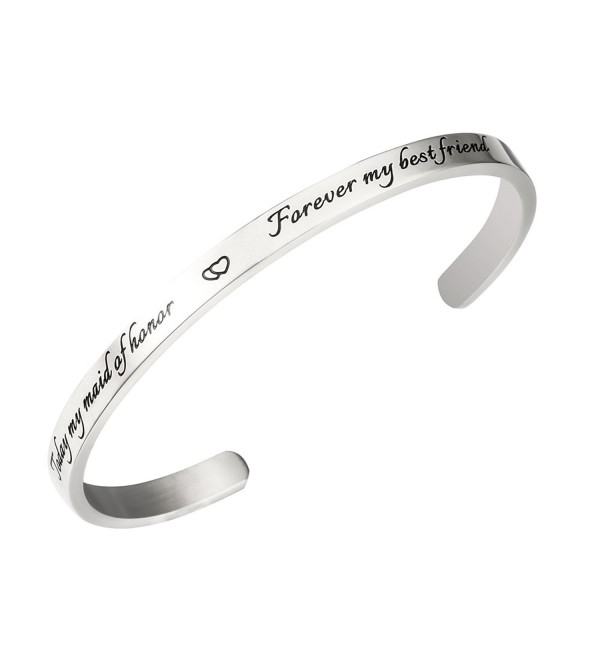 Maid of Honor Bracelet Today My Maid of Honor Forever My Best Friend Matron of Honor Gift - Silver Bracelet - C61879433WZ