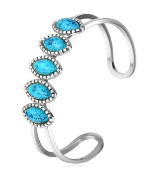 18k Gold Plated Turquoise Cuff Bracelet Bangle - Platinum Plated - CI126G652ND