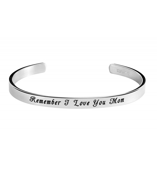 Remember Mom I Love You Inspirational Bracelet Cuff Bangle for Mother - CB184QQ4CIO