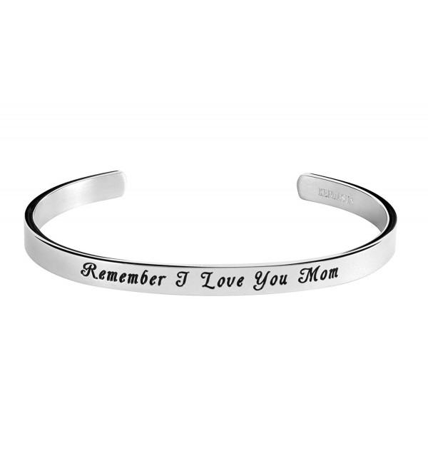 Remember Mom I Love You Inspirational Bracelet Cuff Bangle for Mother - CB184QQ4CIO