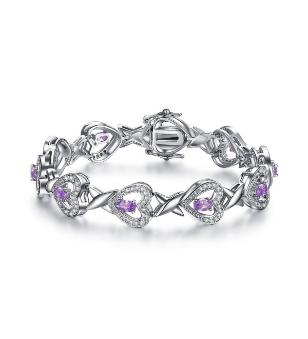 "Foruiston ""Infinity Heart"" Created Amethyst Silver Bangle Bracelet for Women- 7'' - CR18690C652"