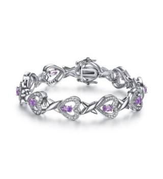 "Foruiston ""Infinity Heart"" Created Amethyst Silver Bangle Bracelet for Women- 7'' - CR18690C652"