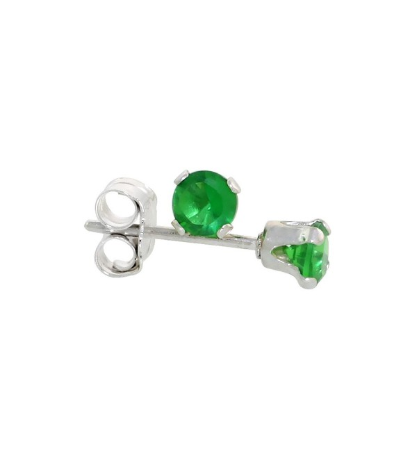Sterling Silver Brilliant Cut Cubic Zirconia Stud Earrings 3 mm Emerald Green Color 1/4 cttw - CG114E2DFLN