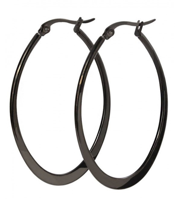 Nanafast Titanium Steel U-shaped Black Hoop Earrings for Women - C3126D4WIMV