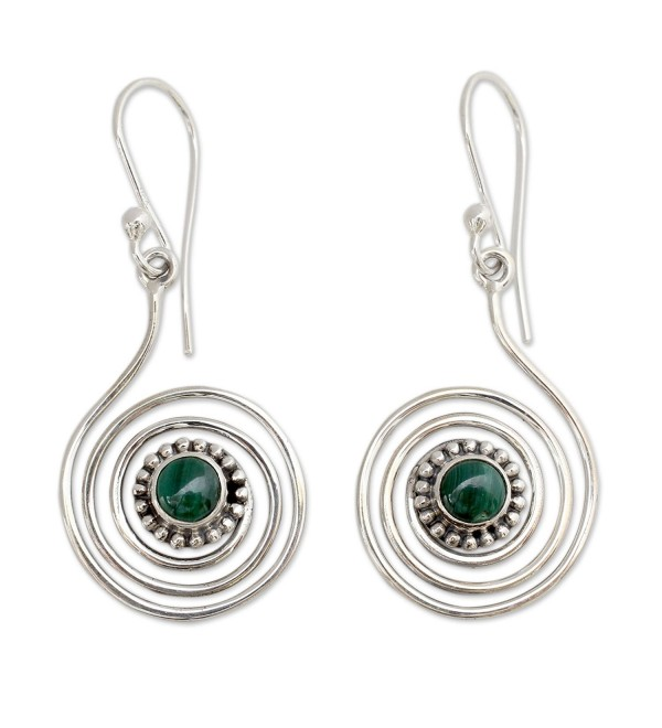 NOVICA Malachite .925 Sterling Silver Dangle Earrings 'Spiral Forest' - CZ12DUHUFUV