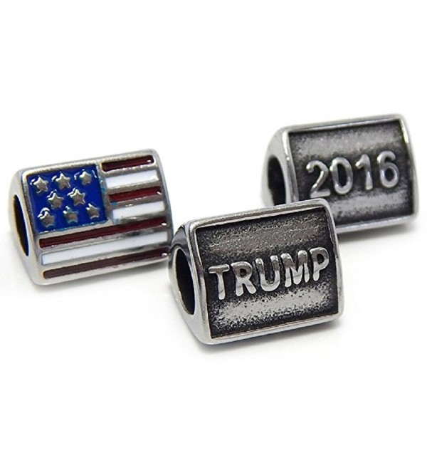 Stainless Steel 3 Sided TRUMP 2016 w/ Flag Republician Campaign Charm Bead Fits Pandora Bracelet - CT12O2H808W