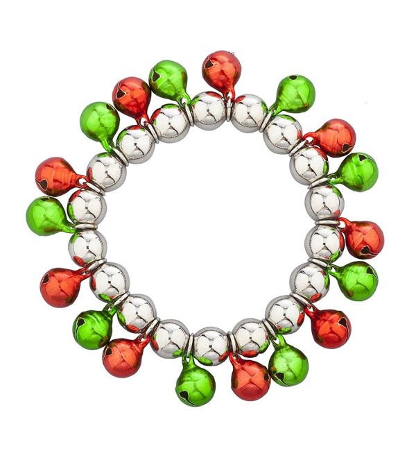 Lux Accessories Multi Color Christmas Jingle Bells Stretch Bracelet - Silver - CY12MS364N5