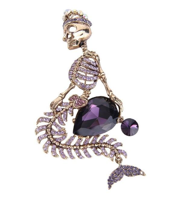 EVER FAITH Women's Austrian Crystal Halloween Mermaid Skull Crown Teardrop Brooch - Purple Antique Gold-Tone - C112GG28RKH