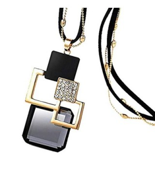 Modogirl Long deep Black cords Sweater Vintage Flower Pendant Necklace for Women and Girls - C811Z48A12B