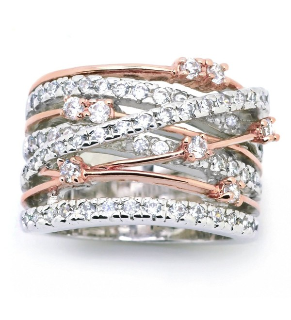 Sparkly Bride CZ Statement Ring Crossover Two-tone Rose Gold Plated Wide Band Women Fashion - CZ12CE0FDBL