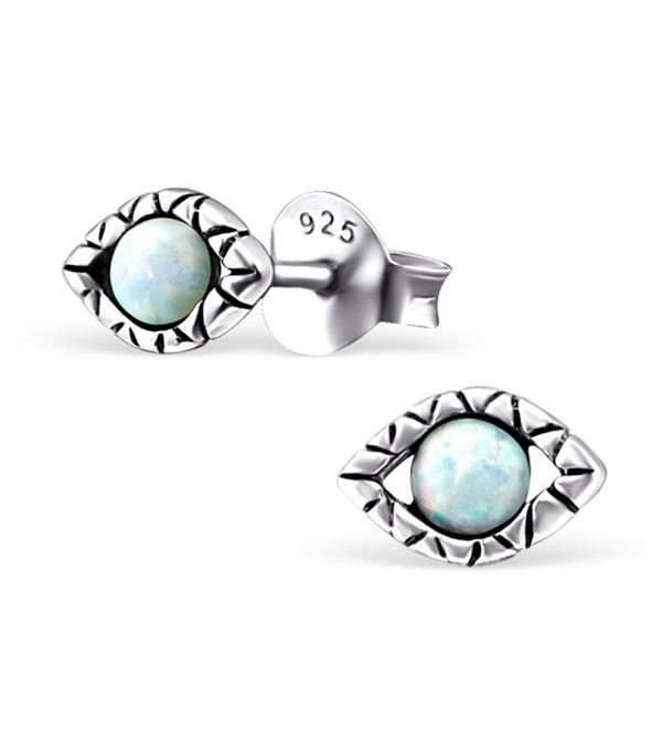 Tiny Evil Eye Synthetic Opal Silver Earrings Antique Style Stering Silver 925 Post Studs (E23675) - CL125S15BAP