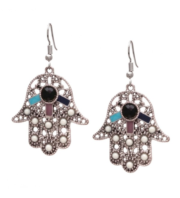 Bleek2sheek Bohemian Hamsa Hand Antiqued Silvertone Dangle Earrings - CC12LNRULBN