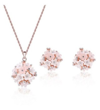 Pokich Rose Gold Plated Pink Flower Necklace Earrings Fashion Jewelry Set for Women Girl - Pink Flower - C617YIL47ZW