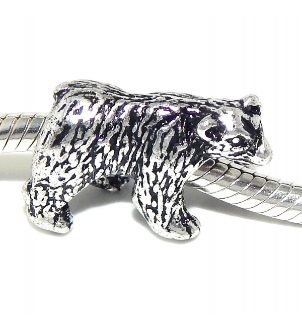 "Jewelry Monster ""Walking Bear"" Charm Bead for Snake Chain Charm Bracelet - C111TR2RESP"
