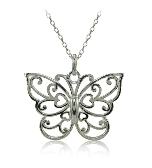 Sterling Silver High Polished Filigree Butterfly Necklace - CZ18392ULNC