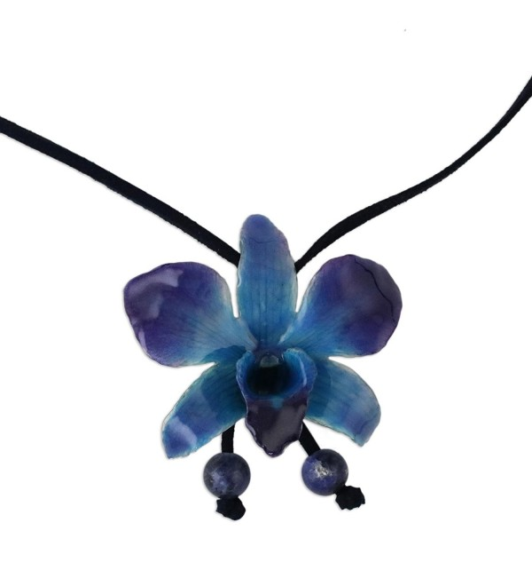 "NOVICA Natural Orchid and Sodalite Long Lariat Necklace- 34.5""- 'Midnight Blue' with Leather Cord - CJ113LWX9FJ"