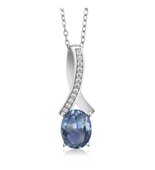 "2.62 Ct Oval Blue Sapphire 925 Sterling Silver Women's Pendant with 18"" Chain - C11205C3FM9"