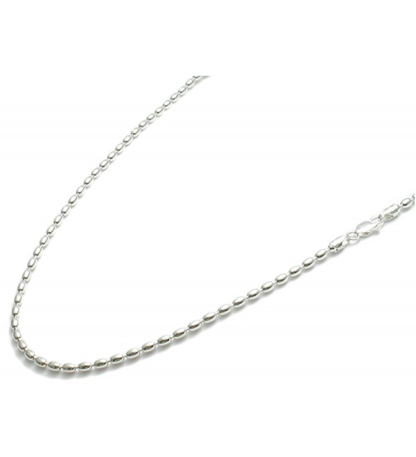 "22"" Beautiful St. Silver Charleston Rice Bead Necklace Chain 2.2 x3 MM Italian /230ga Lobster Claw Clasp - CF120FLEQHD"