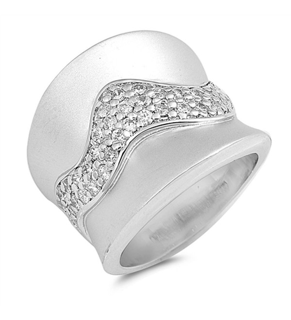 White CZ Unique Wide Wave Cluster Ring New .925 Sterling Silver Band Sizes 6-9 - CD12G76ET9Z