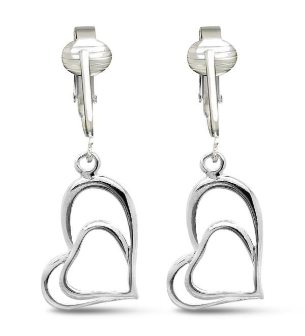 Womens Clip Earrings Silver Lightweight - Silver Hearts - C3180458TRX
