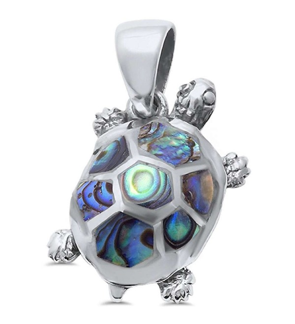 Sterling Silver Natural Stone Turtle Pendant Charm (Three Colors Available) - Abalone Shell - CF12ODEW0MG