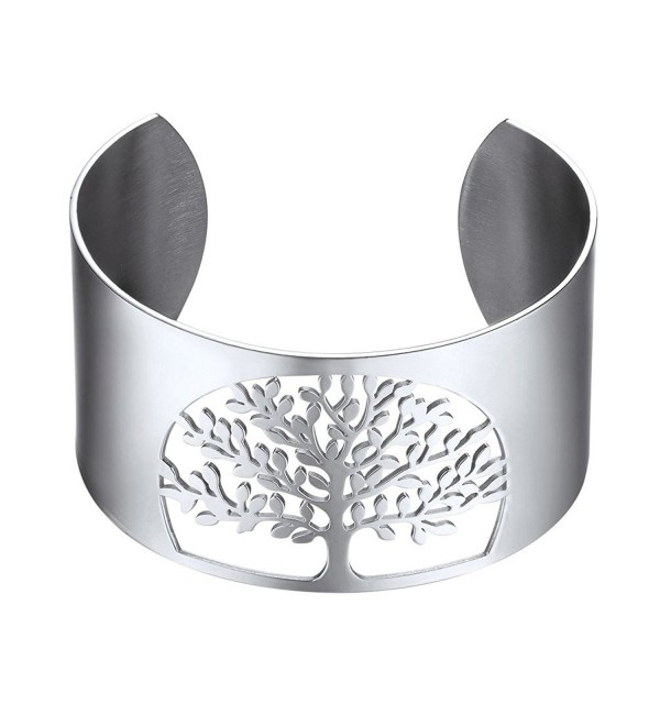 Big Bangle-Cuff Bracelet-Tree of Life- Family Tree Jewelry-Wide Bangles-Mens Womens Jewelry - CM187ILSHLT