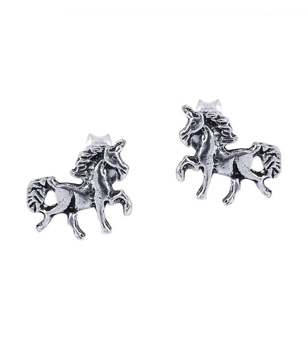 Petite Unicorn or Horse .925 Sterling Silver Stud Earrings - C411U8I4C3R