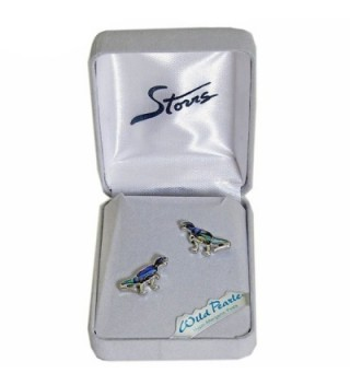 Storrs Wild Pearle Handmade Abalone Silver Plated Post Earrings Dinosaur - CY18760Q9M0