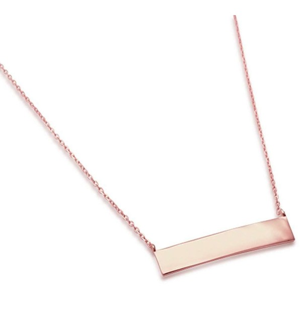 "Sterling Silver Engraveable Bar Necklace Necklace 16-18"" Long THREE COLORS - CO17Y4Y58HX"