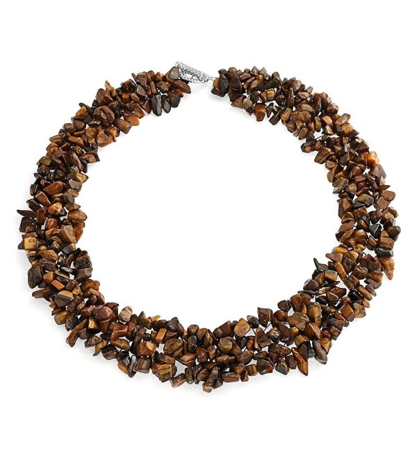 Bling Jewelry Multi Strands Simulated Tiger Eye Chips Chunky Silver Plated Necklace 18 Inches - CI11KXTLLVH