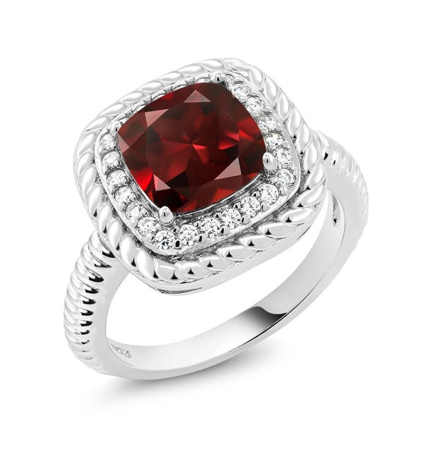 2.74 Ct Cushion Cut Red Garnet 925 Sterling Silver Engagement Ring (Available in size 5- 6- 7- 8- 9) - C8183KIC349