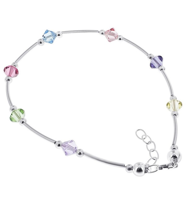Gem Avenue Sterling Silver Swarovski Elements Multicolor Bicone Crystal Ankle Bracelet 9 to 10 inch Adjustable - C4111B4CWTN