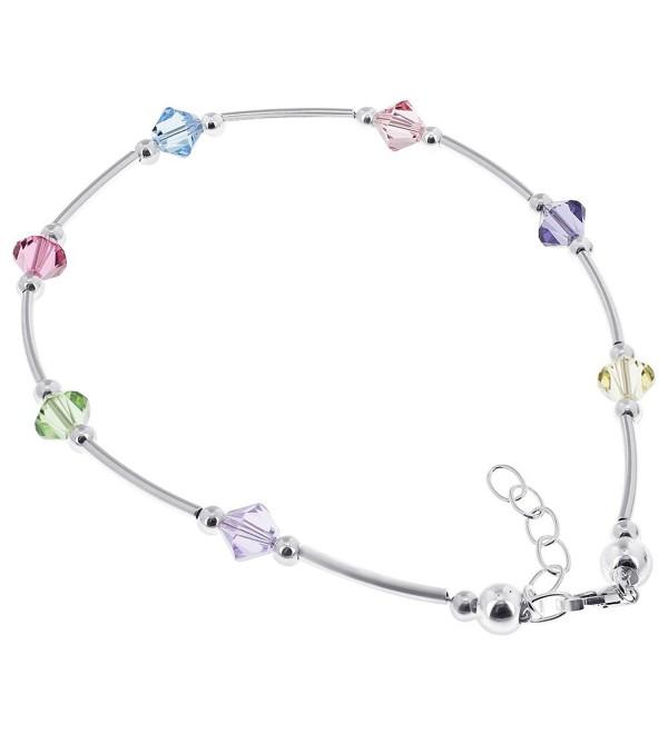 Gem Avenue Sterling Silver Swarovski Elements Multicolor Bicone Crystal Ankle Bracelet 9 to 10 inch Adjustable - C4111B4CWTN