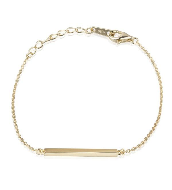 S.Leaf Bar Bracelet Minimalism Line Bracelet Sterling Silver Chain Simplify Stick Bracelet - 18K gold - CO182WU0TT3