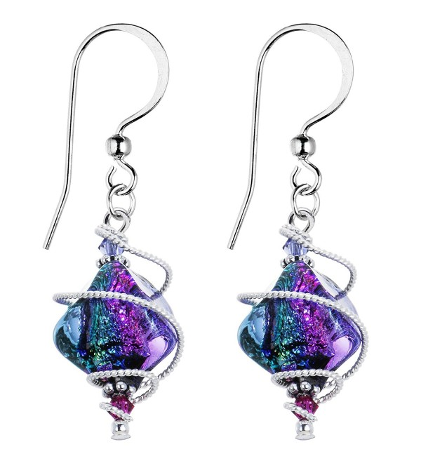 Body Candy Handcrafted 925 Silver Purple Dichroic Drop Dangle Earrings Created with Swarovski Crystals - CT114W6KOF1
