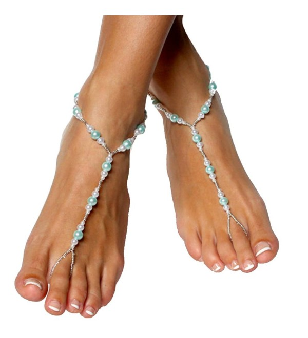 Handmade Blue Pearls Barefoot Sandals Set - Beach Wedding Anklet - CD12EKYKG4X